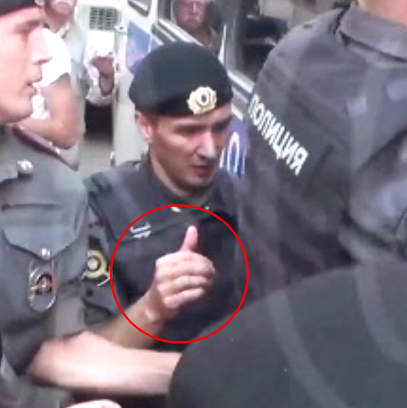 Right hand of officer who beat Garry Kasparov, August 17, 2012