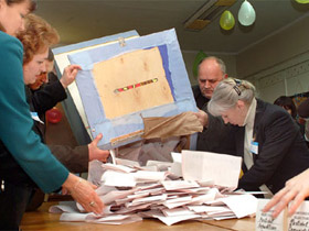 Ballot counting. source - Vremya newspaper.