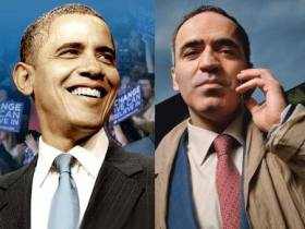 Barack Obama and Garry Kasparov.  Collage by kasparov.ru