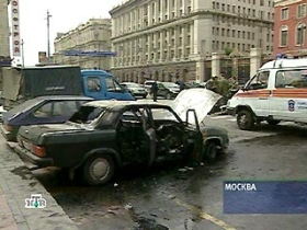Burned Volga car.  source: newsru.com
