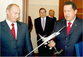 Vladimir Putin and Hugo Chavez. Source: Militaryphotos.net