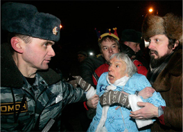 Lyudmila Alexeyeva detained by police in Moscow on December 31, 2009. Source: REUTERS