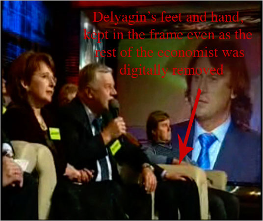 Still of edited Delyagin broadcast.  Source: nytimes.com, with added text