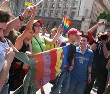 Gay pride activists in Moscow, 2007, before being arrested. Source: Hippy.ru