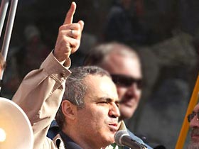 Garry Kasparov speaking at the June 11 rally in Moscow
