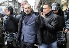 Garry Kasparov detained during a protest in 2007. Source: Offal News
