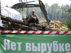 Activist protesting the felling of the Khimki Forest. Source: ITAR-TASS