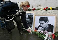 Memorial of Stanislav Markelov and Anastasia Baburova. Source: AFP