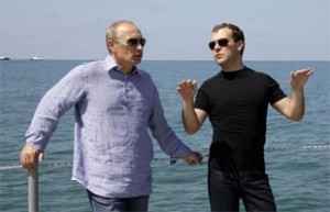 Putin and Medvedev in Sochi, August 2009. Source: vancouversun.com