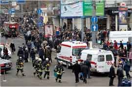 Scene outside of a Moscow metro station after a suicide attack. Source: Denis Sinyakov/Reuters