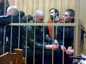National Bolsheviks behind bars at the Tagansky District Court. Source: nazbol.ru