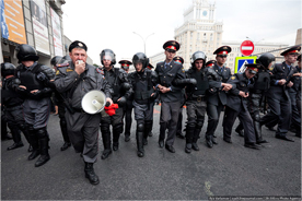 Police at the August 31, 2010 Strategy 31 rally in Moscow. Source: Zyalt.livejournal.com