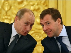 Putin and Medvedev.  source: Kommersant
