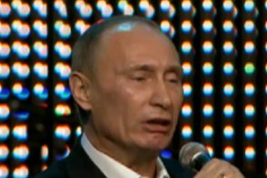 "Vladimir Putin singing ""Blueberry Hill."" Source: Urlesque.com"