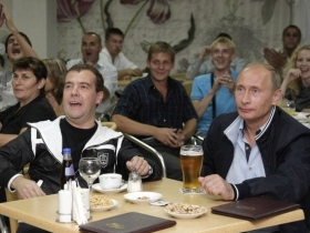 Putin & Medvedev in Sochi in August. Source: Reuters