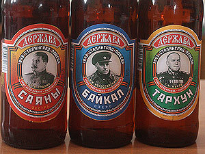 Novelty Russian sodas featuring Stalin, Zhukov and Rossovsky. Source: Komsomolskaya Pravda