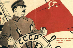"Stalin steering the USSR ""from victory to victory."" Source: Uncyclopedia.wikia.com"