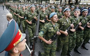 Russian Troops in a parade on the anniversary of the August 2008 military conflict in South Ossetia. Source: Reuters/Sergei Karpukhin