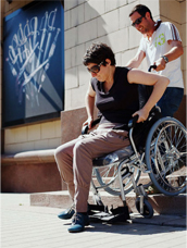 Attempting to go about Moscow in a wheelchair. Source: Bolshoi Gorod magazine